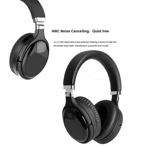 Casque Bluetooth Anc Suppression Active Bruit Sans Fil Avec Micro Câble Filaire